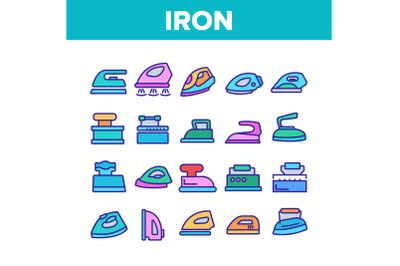 Iron Electrical Tool Collection Icons Set Vector
