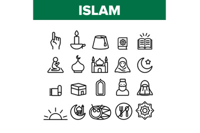 Islam Religion Arab Collection Icons Set Vector