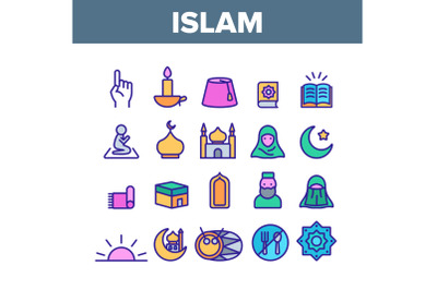Islam Religion Arab Color Icons Set Vector