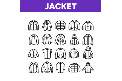 Jacket Fashion Clothes Collection Icons Set Vector
