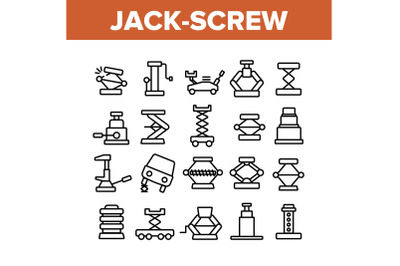 Jack-screw Equipment Collection Icons Set Vector