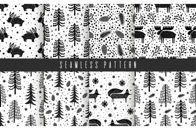 Canada pattern set black. and white