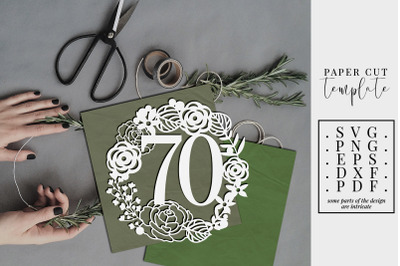 70 Birthday Wreath Papercut Template, 70th Birthday, SVG, PDF