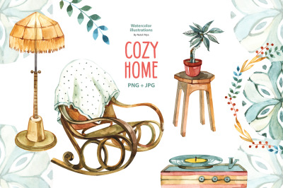 Watercolor cozy home clipart