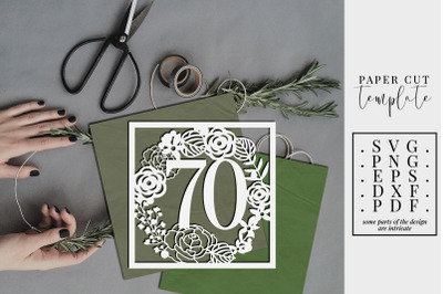 70 Birthday Square Papercut Template, 70th Birthday, SVG, PDF