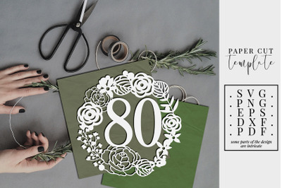 80 Birthday Wreath Papercut Template, 80th Birthday SVG, PDF, DXF