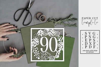 90 Birthday Square Papercut Template, 90th Birthday SVG, PDF