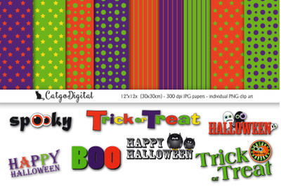 Halloween Scrapbooking Papers and Clip Art