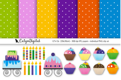 Birthday Cupcakes Scrapbooking Papers and Clip Art