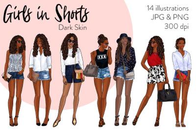 Watercolor Fashion Clipart - Girls in Shorts - Dark Skin
