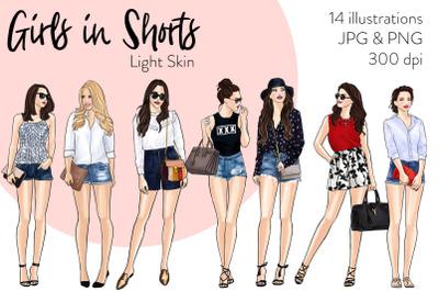 Watercolor Fashion Clipart - Girls in Shorts - Light Skin