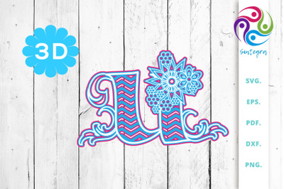 3D Multilayer Floral Chevron Letter U , SVG Cut File