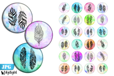 Boho Feathers bottle cap printable circle images