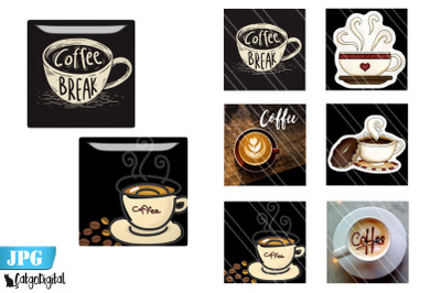 Coffee Square Digital printable images for magnets coasters