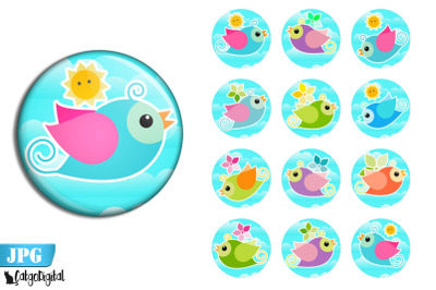 Cute Birds Circle Printable images Cake Toppers