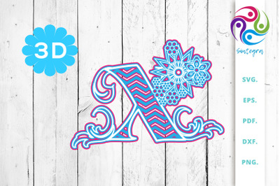 3D Multilayer Floral Chevron Letter X , SVG Cut File