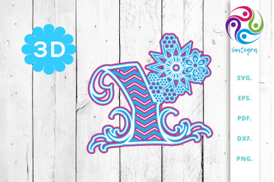 3D Multilayer Floral Chevron Letter Y , SVG Cut File