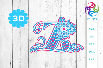 3D Multilayer Floral Chevron Letter Z , SVG Cut File