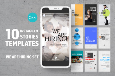 10 Instagram stories template for Canva. WE ARE HIRING!