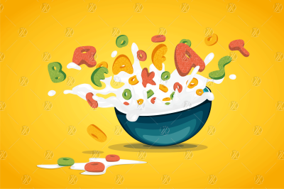 Cereal Oats Splash Milk Vector