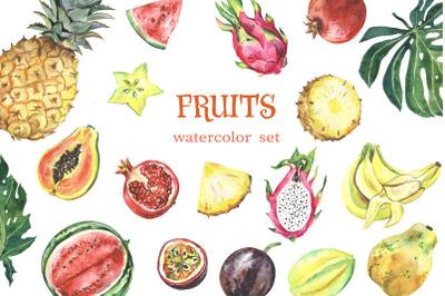 Watercolor tropical fruit clipart. Summer clip art. Fruit set