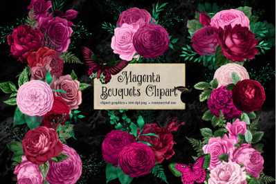 Magenta Bouquets Clipart