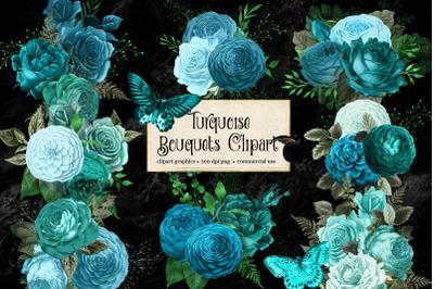 Turquoise Bouquets Clipart