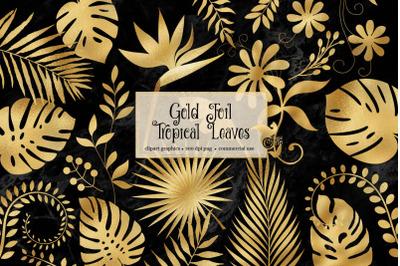 Gold Foil Tropical Leaves Clipart