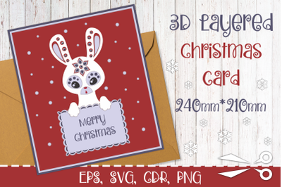3D Layered Christmas greeting card with bunny