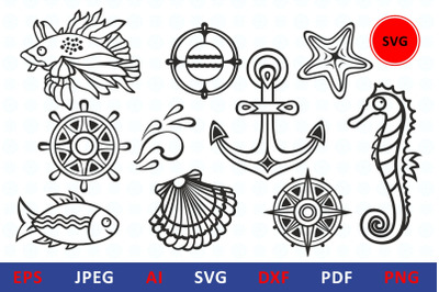 Sea life svg icon bundle underwater dxf vector illustrations