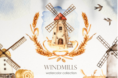 Windmills Watercolor. Clipart, cards, frames, wreaths, patterns