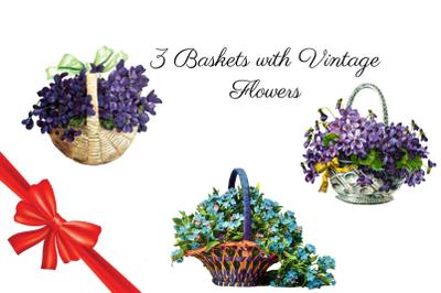 3 Baskets with Vintage Flowers, Vintage Plant Decor, Purple