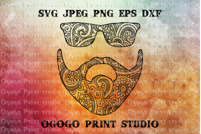 Beard SVG, Mustache SVG, Zentangle SVG, Mandala Svg, Father