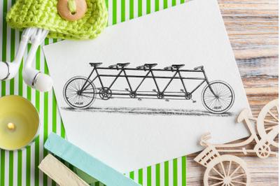 Vintage Digital Bike, Tandem Bike, Graphic for decoration