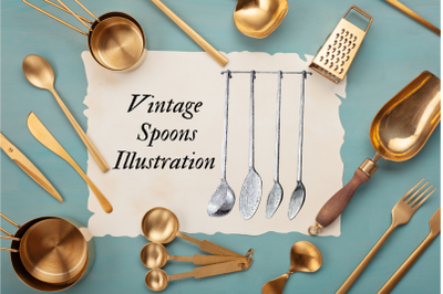 Vintage Tea Spoons, Printable Kitchen Antique Book