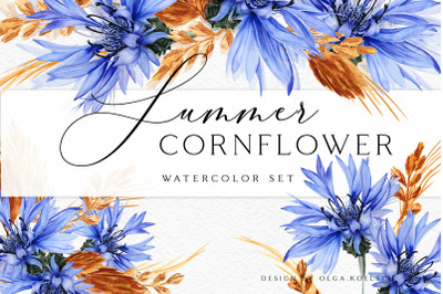 Watercolor cornflower  blue floral clipart.  Rustic wedding invitation
