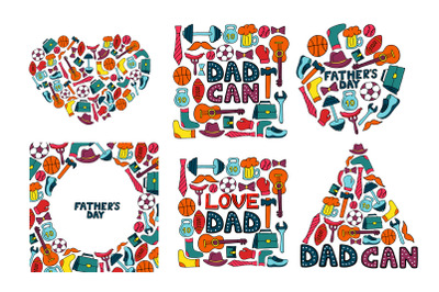 Happy Father's Day. Greeting cards and seamless pattern