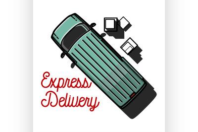 Color vintage express delivery emblem