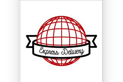 Color vintage express delivery emblem