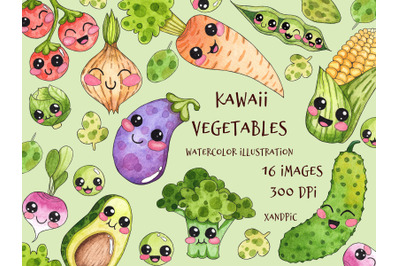 Kawaii Vegetables Clipart-watercolor hand drawing. Cute vegetables