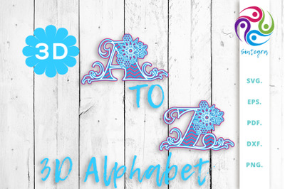 3D Multilayer Floral Alphabet A to Z, SVG Cut File Bundle