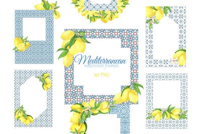Watercolor mediterranean tiles frame with lemons