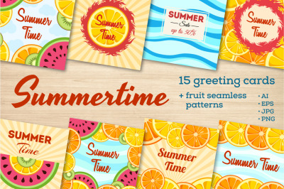 15 Summer time greeting cards and fruit patterns