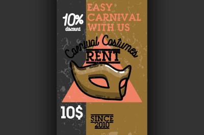 Color vintage carnival costumes rent banner