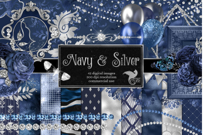 Navy and Silver Graphics