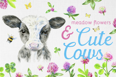 Cute cows and meadow flowers. Dairy collection