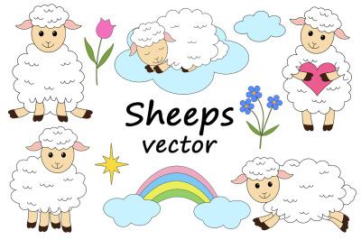 Set of cute sheeps vector illustrations