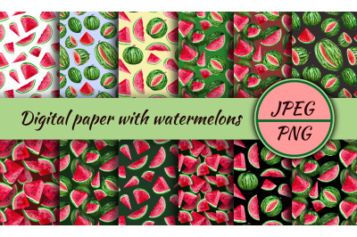 Watermelons, digital paper. Watercolor clipart with watermelon