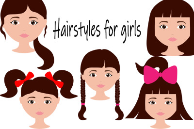 Set with different hairstyles for girls vector