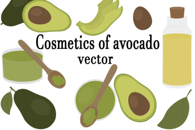 Set of cosmetics from avocado vector